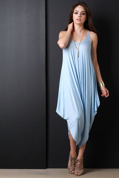Plunging Neckline Draping Oversize Jumpsuit