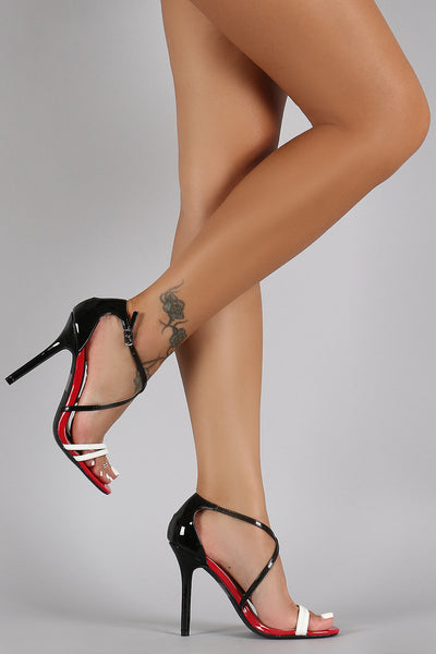 Wild Diva Lounge Tri-Colors Strappy Open Toe Heel
