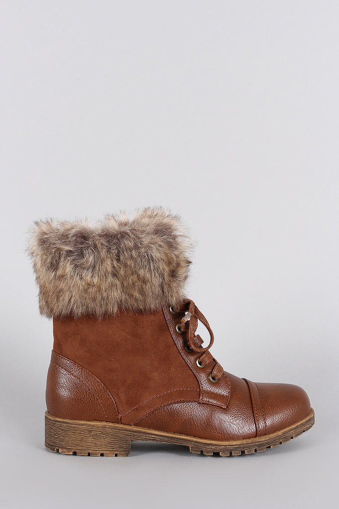 Bamboo Combat Faux Fur Ankle Cuff Lug Sole Booties
