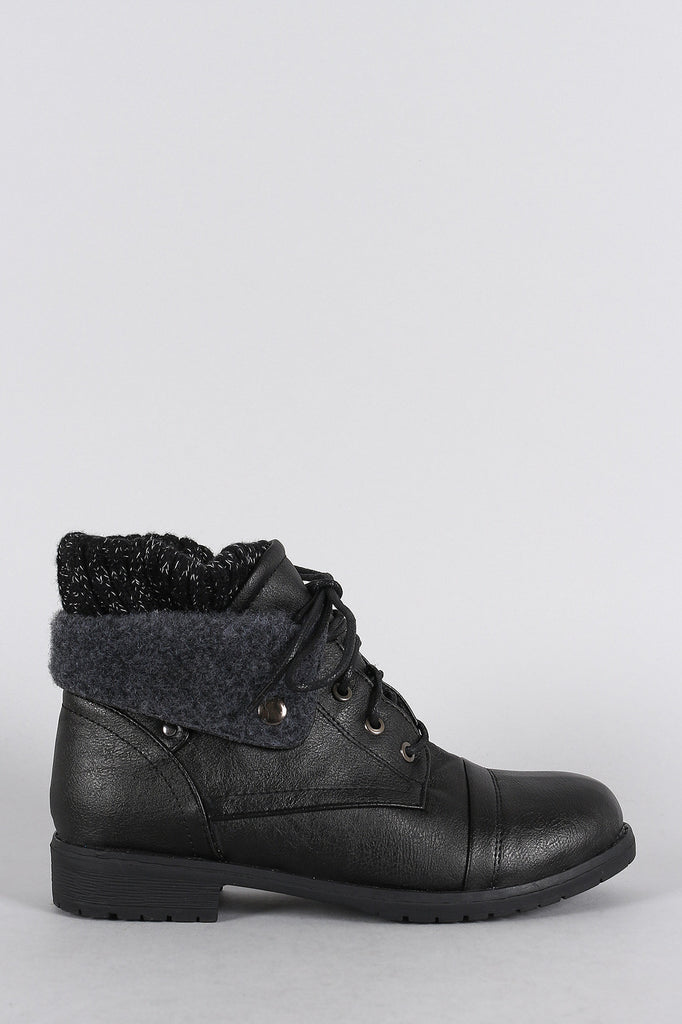 Sweater Fold Over Cuff Round Toe Lace Up Combat Booties
