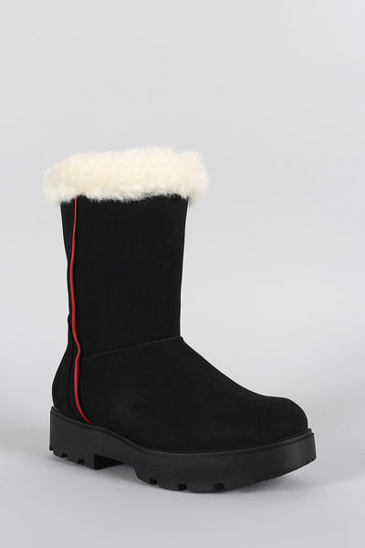 Faux Fur Round Toe Lug Sole Mid Calf Boots