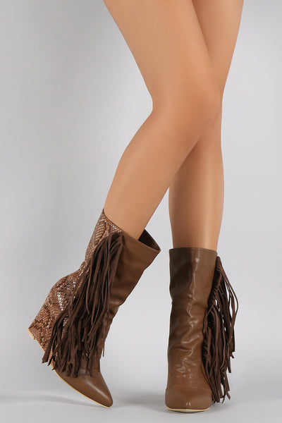 Python Fringe Pointy Toe Mid Calf Wedge Boots
