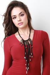 Beaded Fringe Suede Necklace
