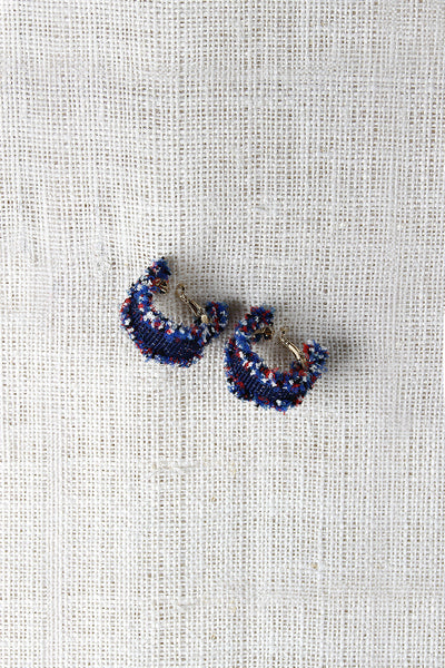 Denim Ruffle Hoop Earrings