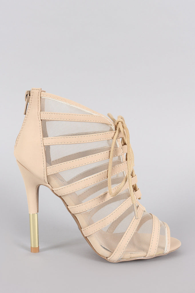 Qupid Mesh Lace Up Peep Toe Stiletto Heel