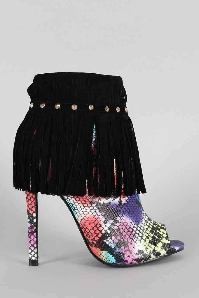 Studded Fringe Snake Print Peep Toe Stiletto Booties