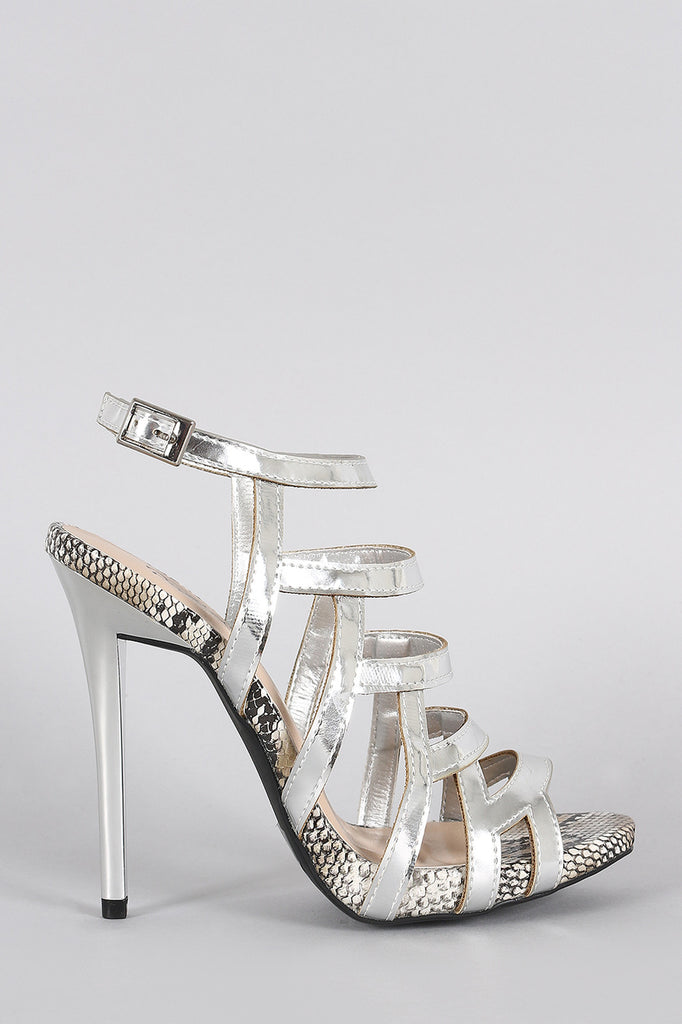 Qupid Metallic Strappy Snake Open Toe Stiletto Heel