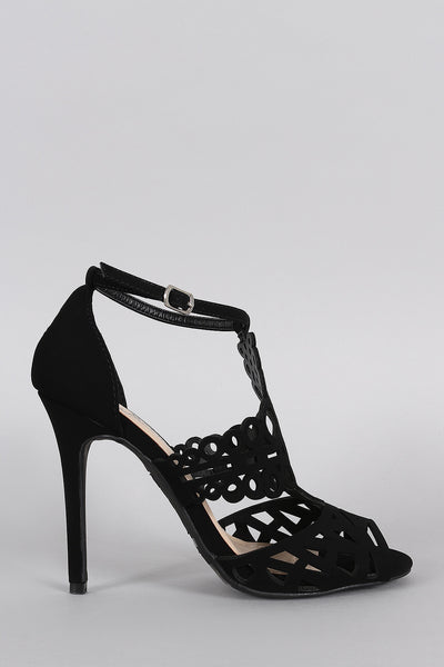 Anne Michelle Intricate Cutouts Peep Toe Heel