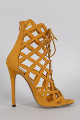 Liliana Caged Laser Cut Lace Up Heel