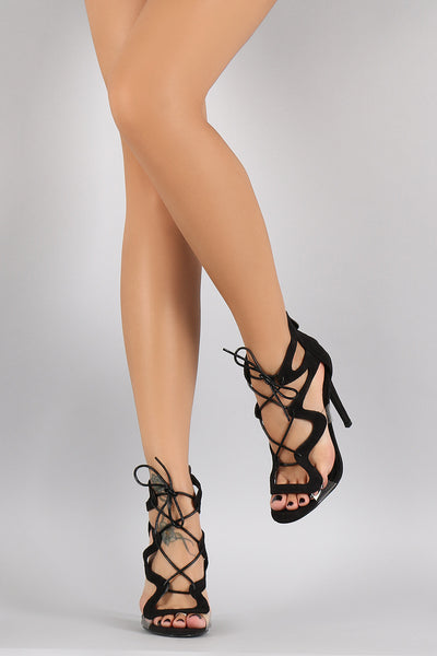 Zig Zag Crossing Laces Open Toe Heel