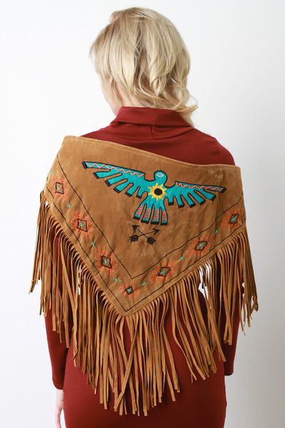 Thunderbird Embroidered Fringe Suede Triangle Scarf