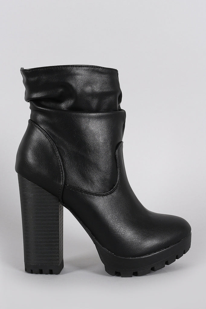 Breckelle Slouchy Lug Sole Chunky Heeled Ankle Boots