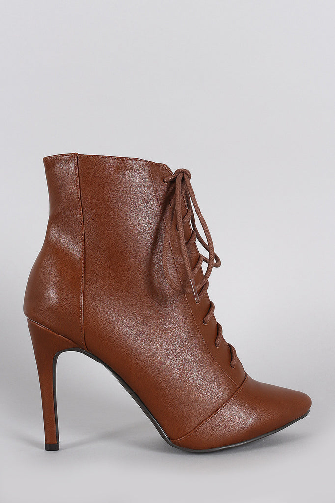 Breckelle Pointy Toe Lace Up Heeled Ankle Boots