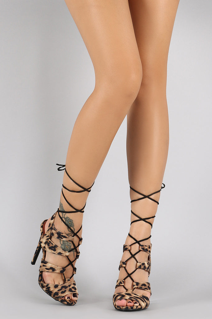 Qupid Leopard Corset Lace Up Peep Toe Stiletto Heel