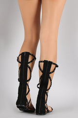 Qupid Studded Strappy O-Ring Gladiator Flat Sandal
