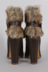 Faux Fur Buckle Almond Toe Ankle Bootie