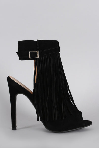 Fringe Peep Toe Stiletto Mule