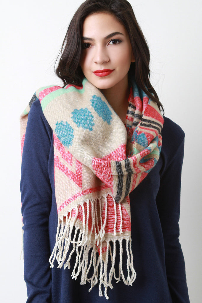 Braided Fringe Tribal Imprint Scarf