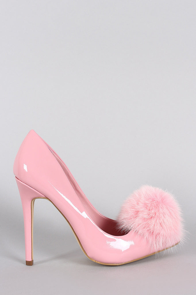 Privileged Faux Fur Pom Pom Patent Pointy Toe Stiletto Pump
