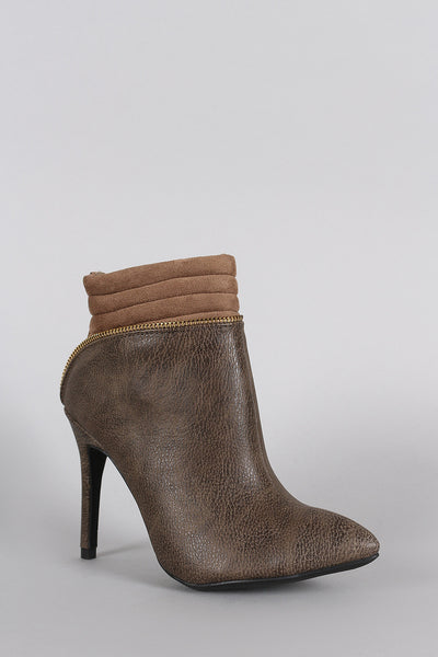 Wild Diva Lounge Pointy Toe Zipper Edge Stiletto Booties
