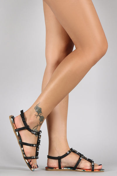 Bamboo Jeweled Caged Open Toe Flat Sandal