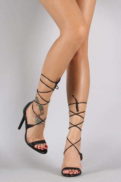 Liliana Leather Lace Up Open Toe Heel