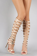 Liliana Caged Cutout Lace Up Gladiator Heel