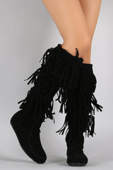 Lace Up Suede Fringe Knee High Boots