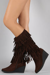 Suede Layered Fringe Moccasin Wedge Boots