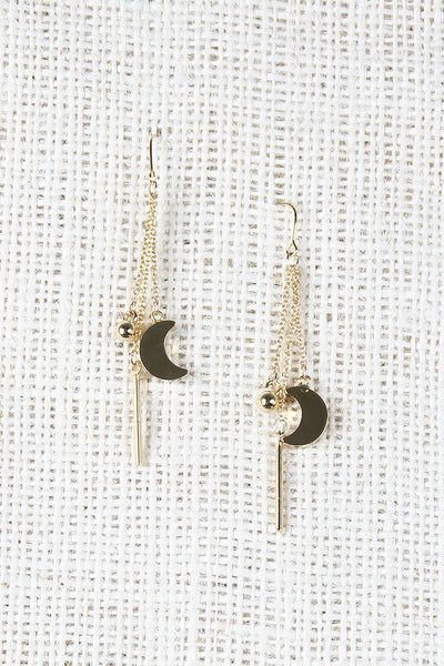 Moon And Rod Drop Earrings
