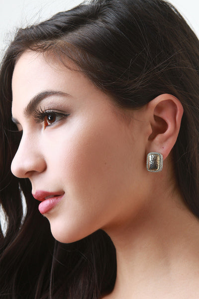 Hammered Rectangular Clip Earrings