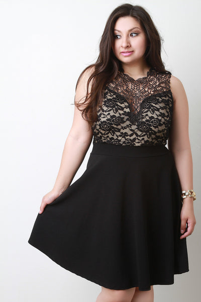 Crochet Lace Illusion Skater Dress