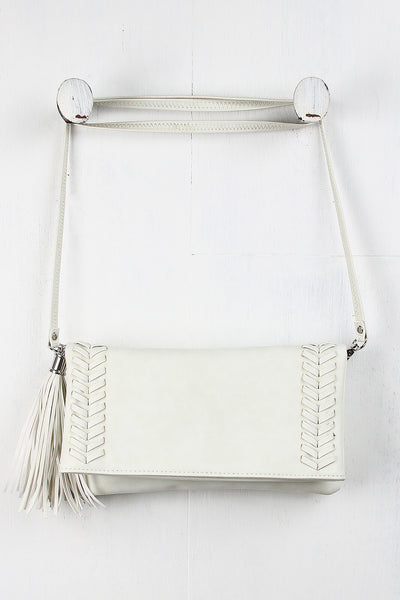 Tassel Double Stitched Crossbody Bag