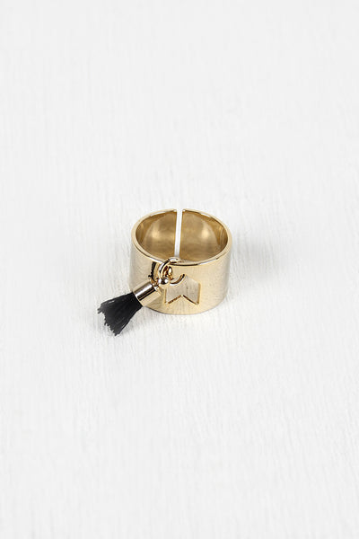 Wide Band Tassel Cuff Ring