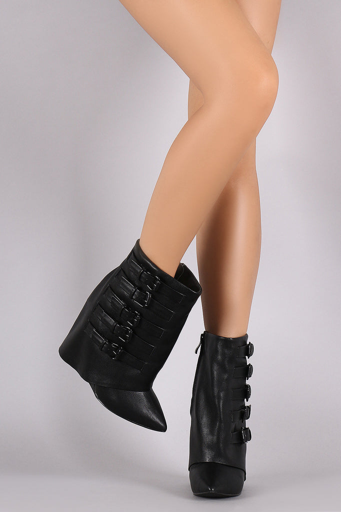 Buckled Pointy Toe Fold Down Shaft Wedge Booties