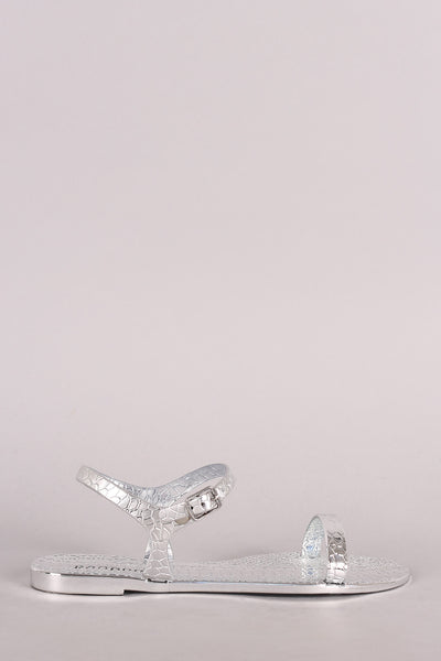 Bamboo Snake Embossed Open Toe Jelly Flat Sandal
