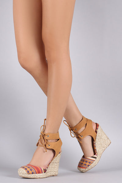 Qupid Round Toe Lace Up Espadrille Platform Wedge