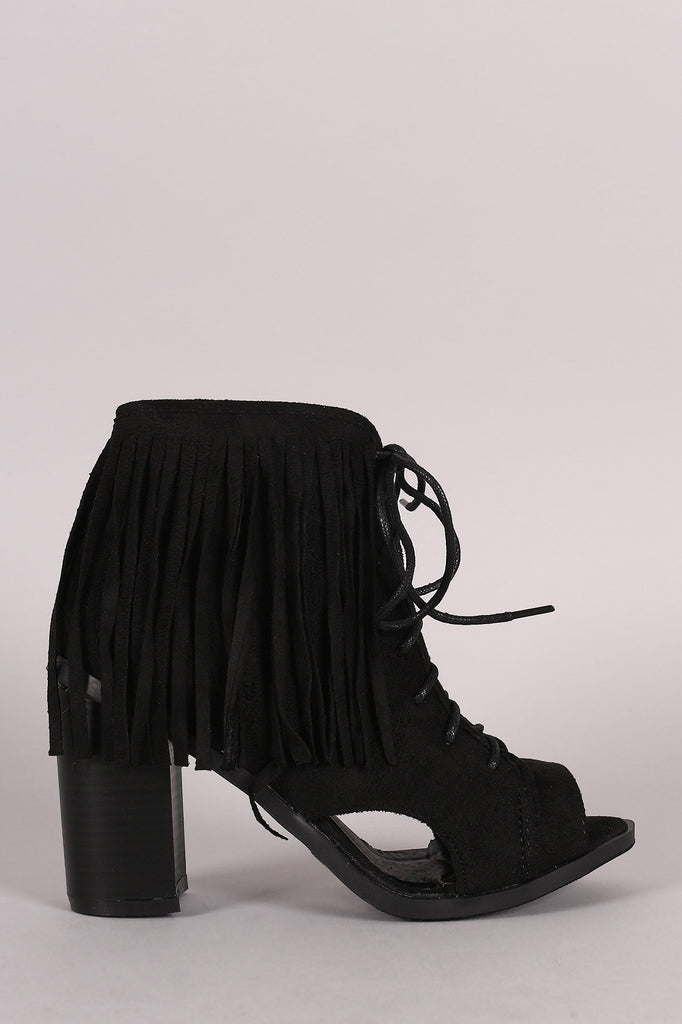 Suede Fringe Lace Up Chunky Heeled Ankle Boots