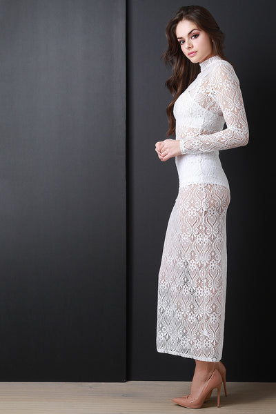 Baroque Lace Long Sleeve Maxi Dress