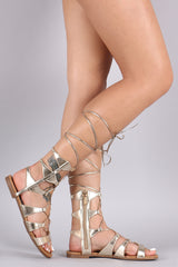 Breckelle Strappy Lace-Up Gladiator Flat Sandal