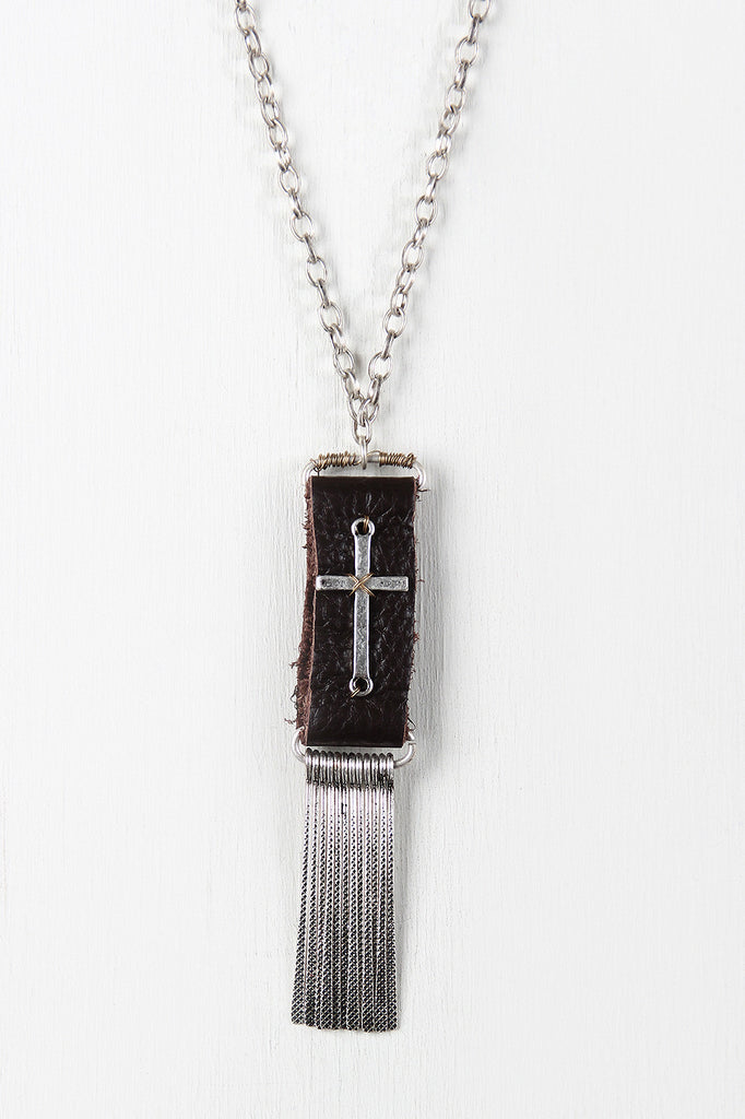 Leather And Cross Pendant Necklace