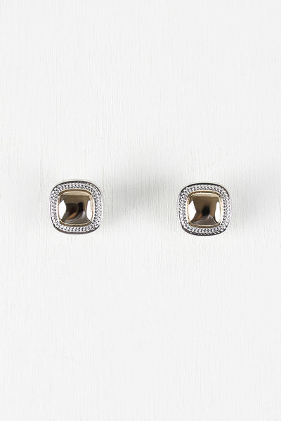 Glossy Square Clip Earrings