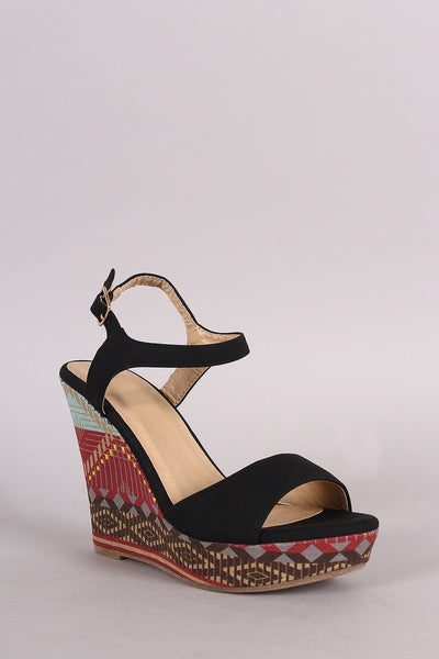 Tribal Ankle Strap Open Toe Platform Wedge