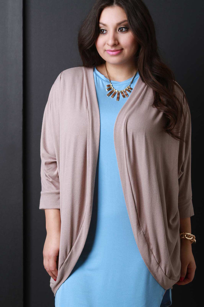 Open Front Dolman Sleeves Cardigan