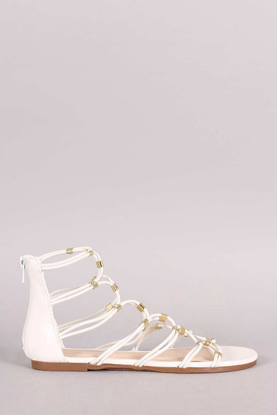 Bamboo Strappy Hardware Leather Flat Sandal