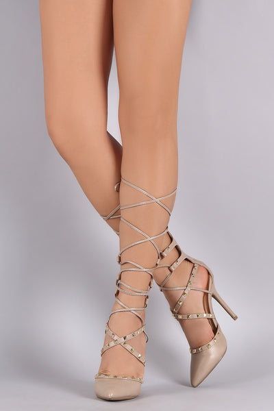 Wild Diva Lounge Studded Lace-Up Stiletto Pump
