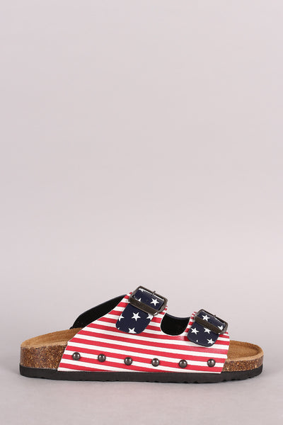 Flag Print Double Buckle Open Toe Footbed Sandal