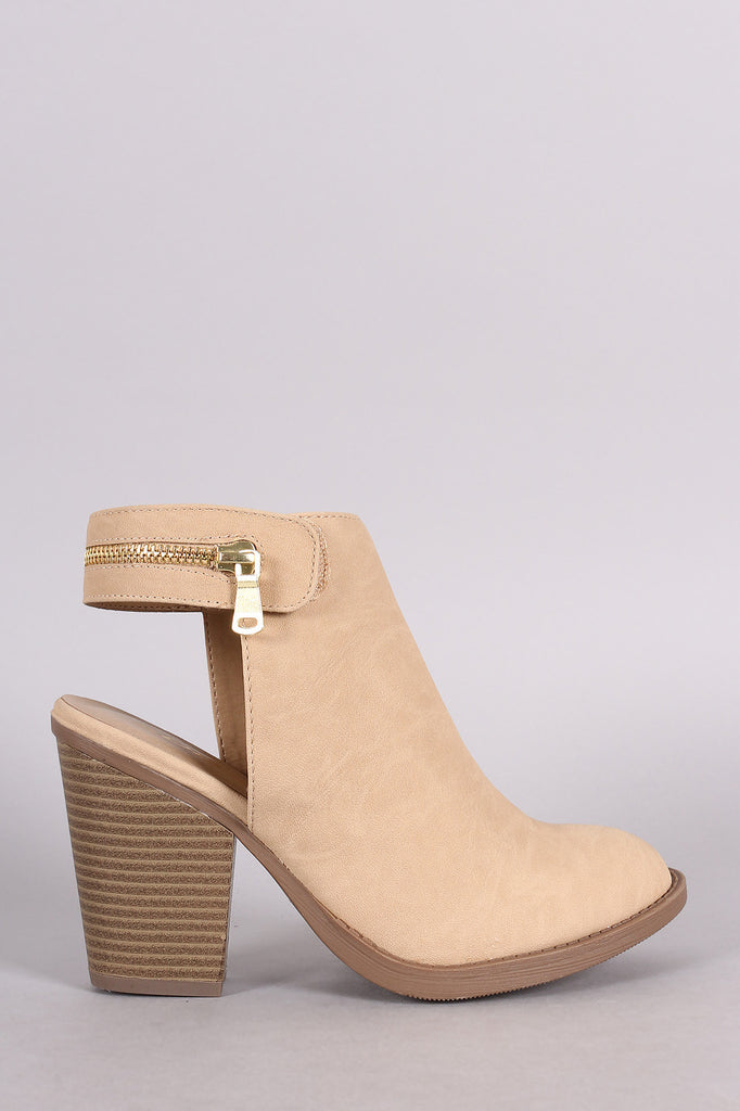 Soda Zipper Trim Chunky Heel Booties