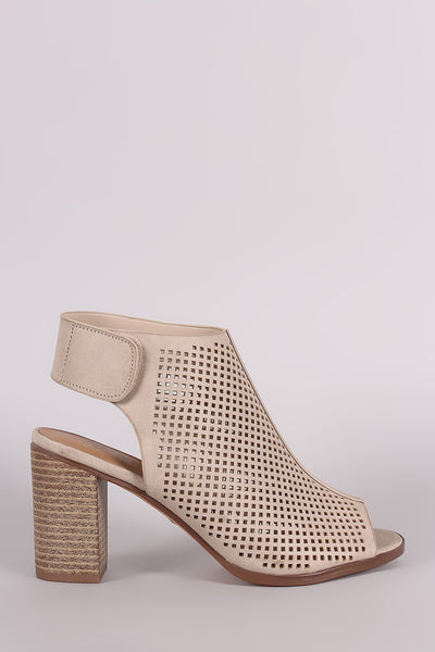 City Classified Perforated Peep Toe Chunky Heel