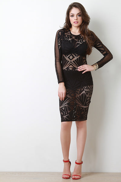 Round Neck Semi-Sheer Bodycon Dress